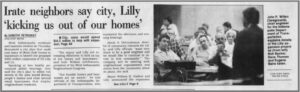 Lilly displaces homes and businesses